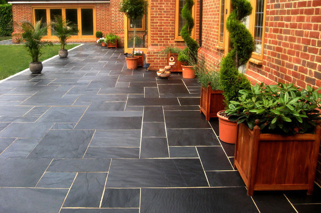 Outdoor Pavers New Zealand : Blue black slate paving stones and walling