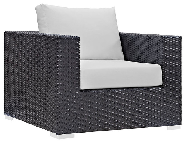 Convene Outdoor Patio Armchair, Espresso White.
