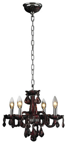 Worldwide Lighting W83100C16-CY Clarion 4 Light Candle Style Crystal Chandelier