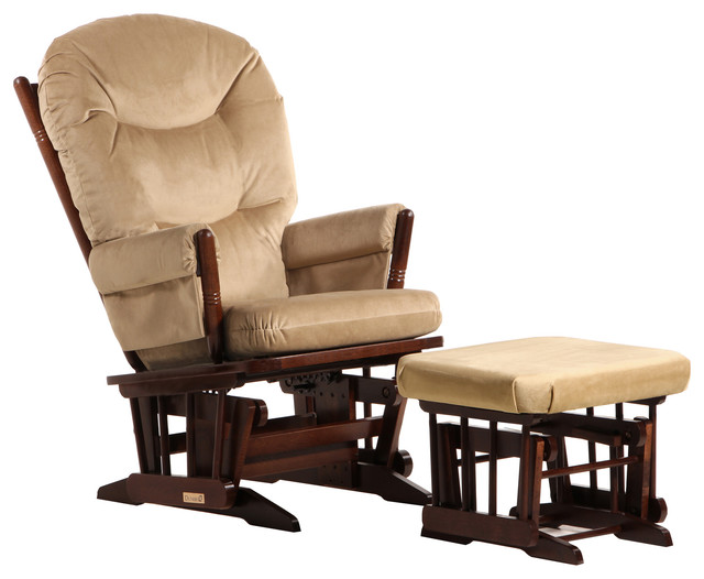 Dutailier Colonial Glider with Ottoman in Coffee and Light Brown by Dutailier Group