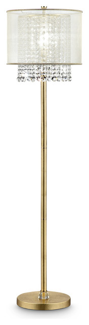 65 Tall Floor Lamp Bhavya W/ Gold Finish And Crystal Accents, White Shade.