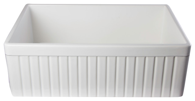 """Biscuit 30"""" Fluted Single Bowl Fireclay Farmhouse Kitchen Sink, White."""