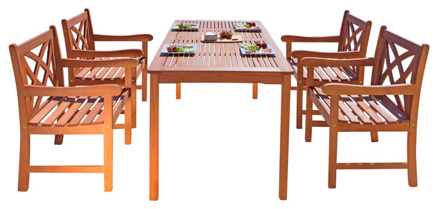 Malibu Eco-Friendly 5-Piece Wood Outdoor Dining Set.