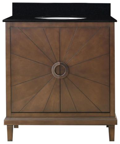 "Legion Furniture Tristan Vanity With Top, Antique Coffee, 31"", Black Granite"