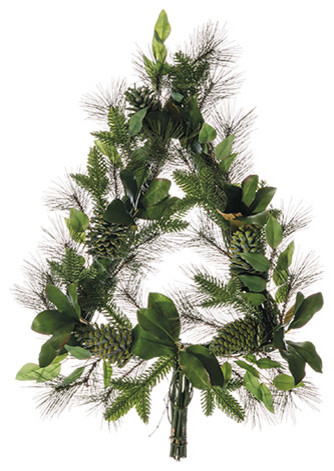 Magnolia Leaf, Pine And Pine Cone Christmas Tree Wreath, Set Of 1.