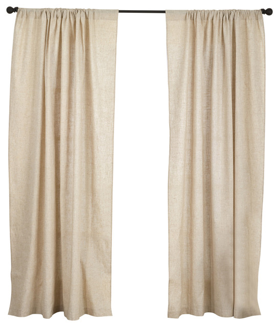 "Classic Hemstitched Linen Blend Unlined Curtain, Natural, 57""x96""."