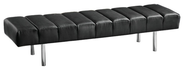 Classic Leather Bench 3-Seater, White.