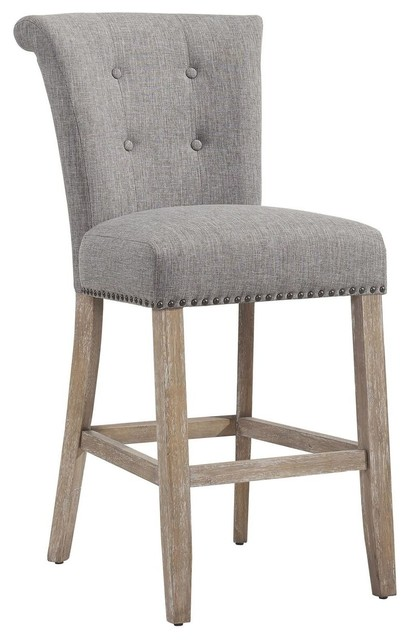 Delaney Button Tufted Fabric Bar Stool Set Of 2