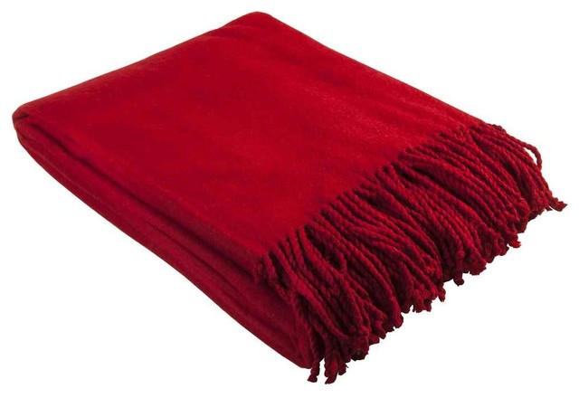 Silk Throw Blanket In Red.