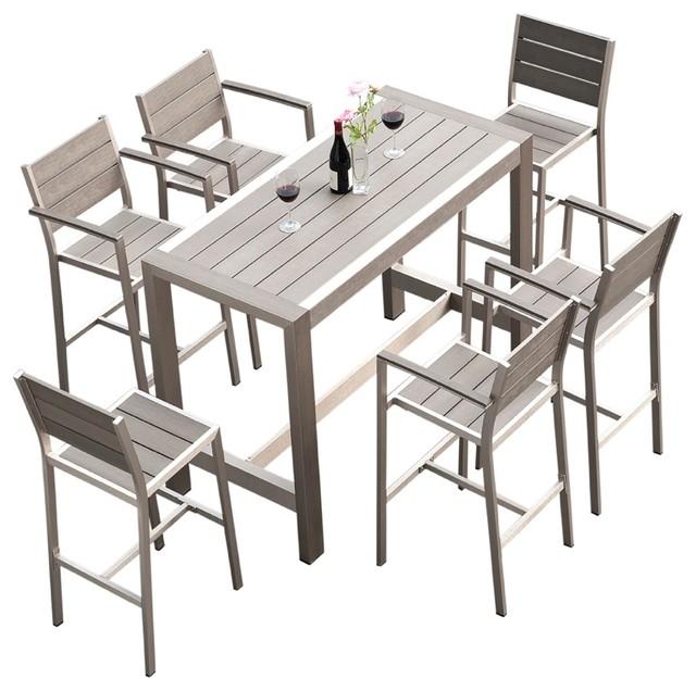 Crecent 7-Piece Outdoor Patio Set - Contemporary - Outdoor Dining ...