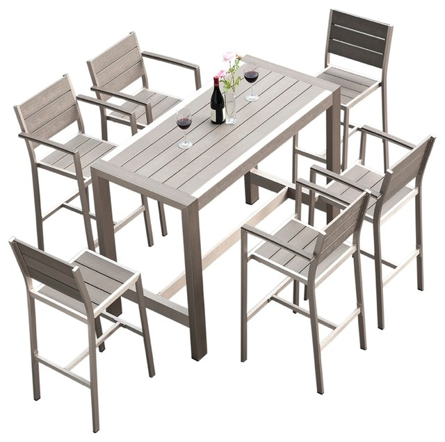 Outdoor Patio Furniture Dining Bar Table Set 7-Piece Set  sc 1 st  Houzz : dining table set 7 piece - pezcame.com