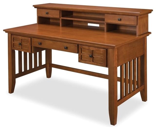 Lachlan Arts And Crafts Executive Desk And Hutch, Cottage Oak.