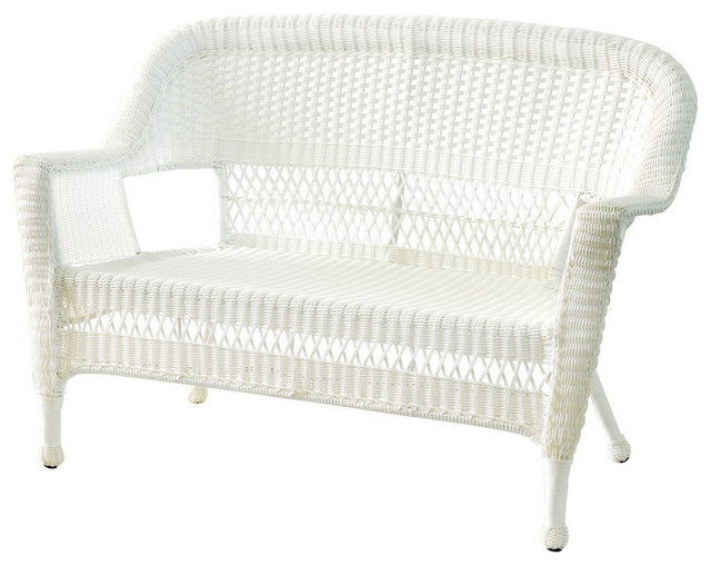 Jeco Inc Patio Decorative White Wicker Love Seat Beach Style Outdoor Loveseats By Clickhere2