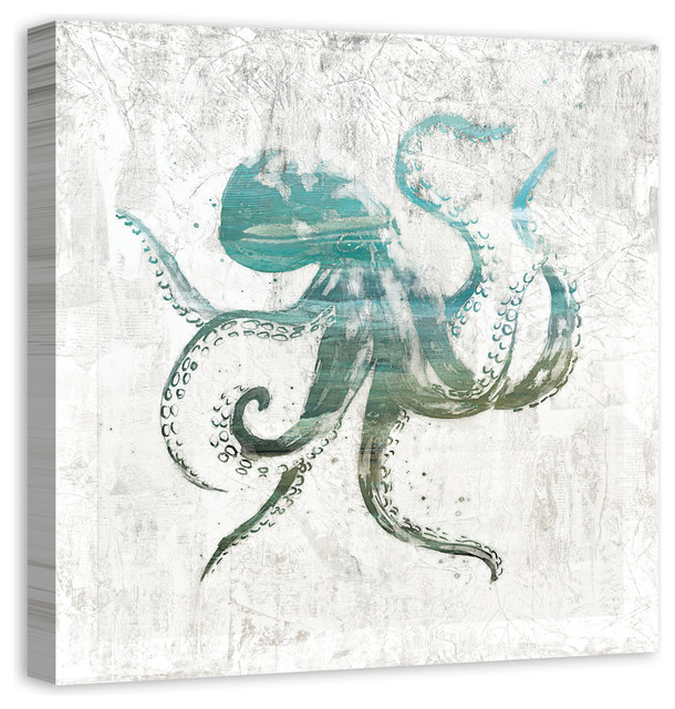 Turquoise Octopus Canvas Wall Art, 30x30.