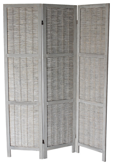 Jack 3 Panel Room Divider Gray Tropical Screens And Room