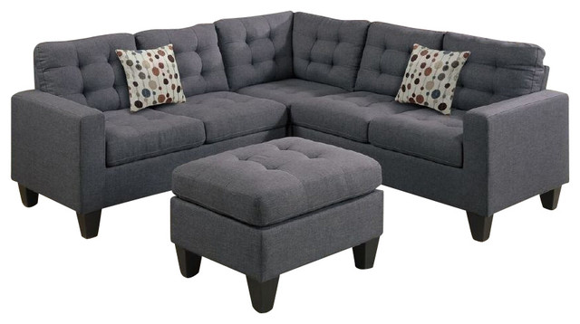 4 Piece Modular Sectional Sofa And Ottoman Grey