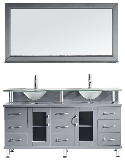 """Stockholm Double Vanity, Gray With Frosted Glass Top, 60""""."""