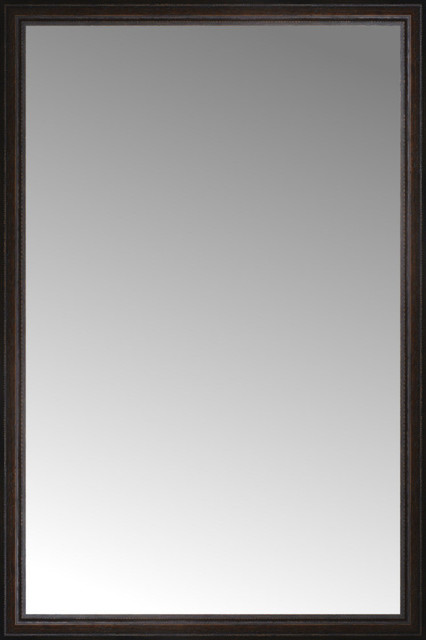 40 X60 Custom Framed Mirror Distressed Brown