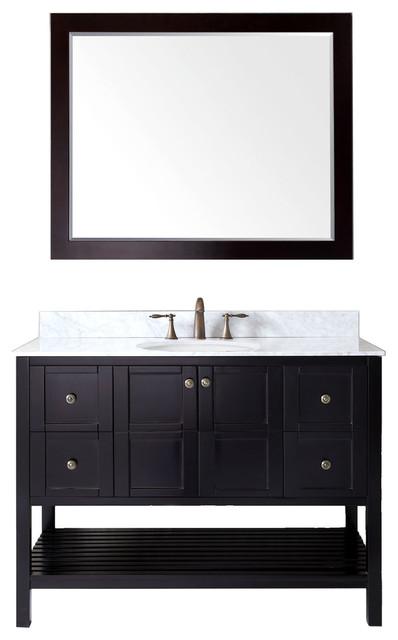 Virtu Winterfell 48 Single Bathroom Vanity, Espresso With Marble Top, Mirror.