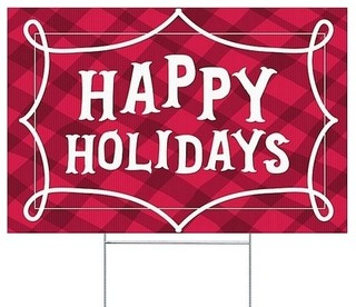 """Happy Holidays, Red Plaid"" Double-Sided Corrugated ..."