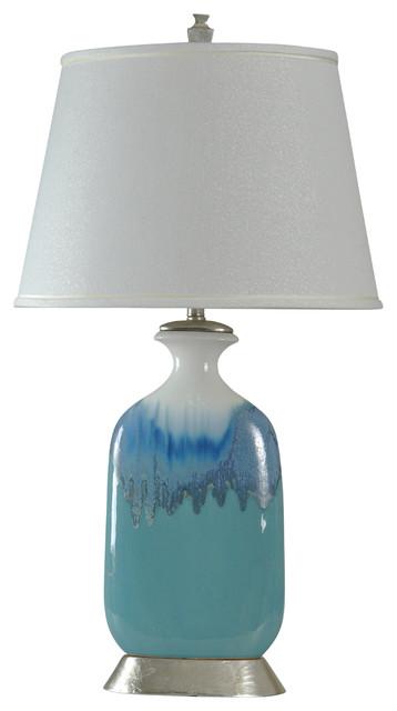 Beach Grove Ceramic Table Lamp, Blue Glaze Finish, White Hardback Fabric Shade.