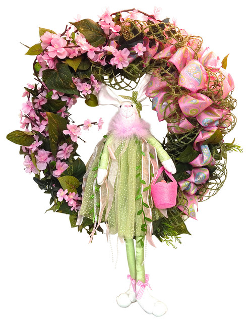 Outdoor Easter Grapevine Spring Wreath, Pink, Dogwood, And Lime.