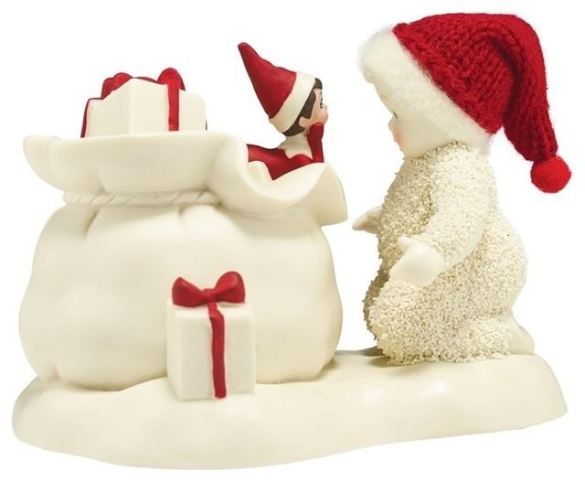 Dept snowbabies elf on shelf helps santa figurine traditional