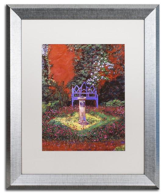 """David Lloyd Glover 'The Old Sundial' Art, Silver Frame, 16""""x20"""", White Matte"""