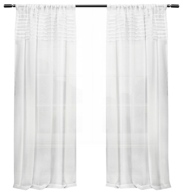 Exclusive Home Barcelona Sheer Window Curtain Panel Pair, 50x108, White.