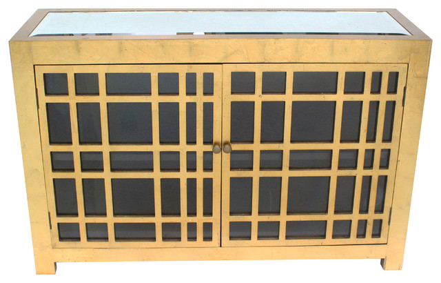 Shop Houzz | Teton Home Hahn Gold Lattice Cabinet - Accent ...