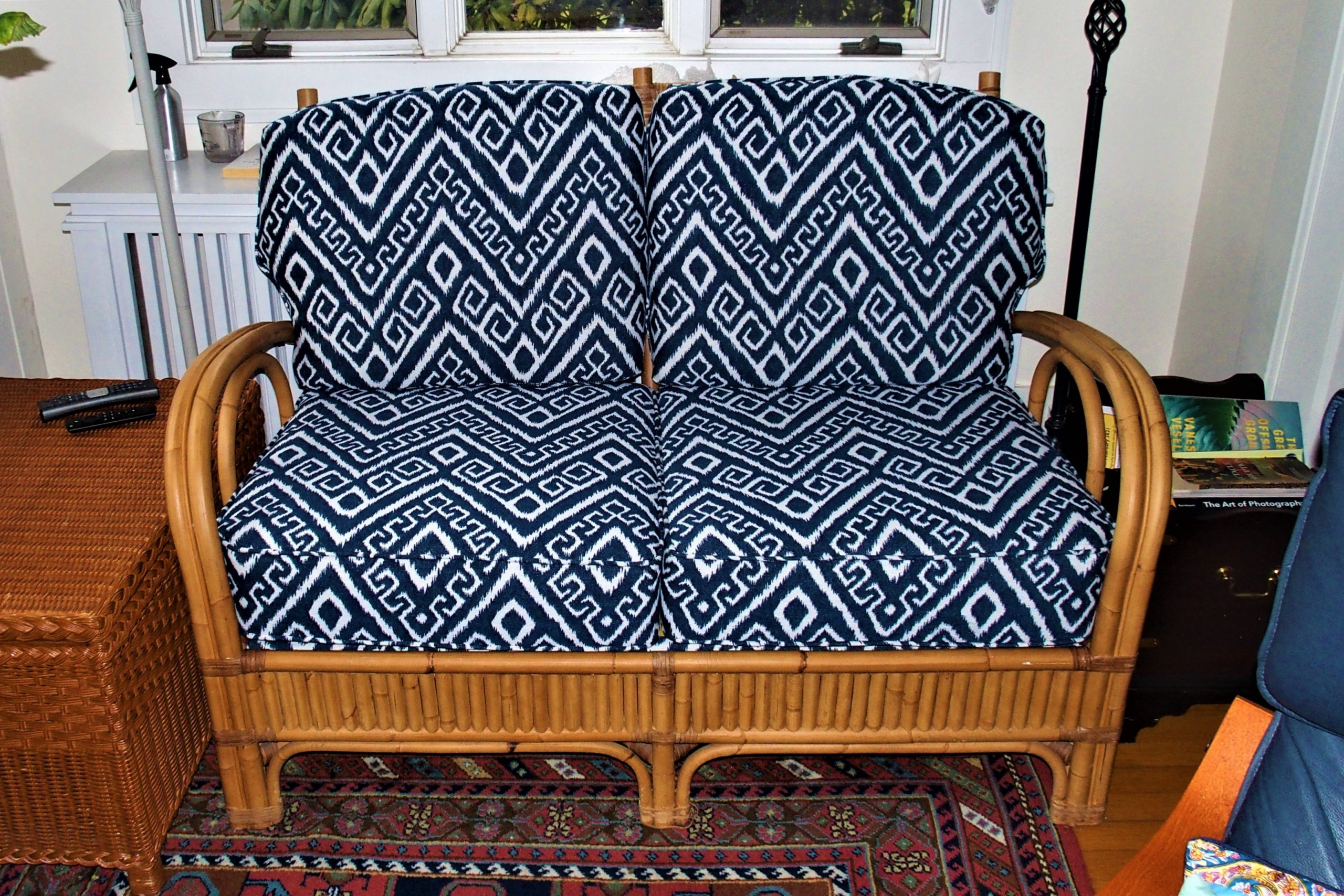 Upholstered bamboo loveseat