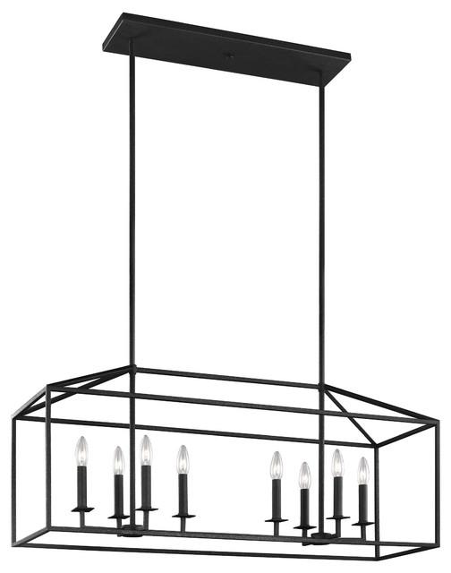 Sea Gull Lighting 8-Light Island Pendant, Blacksmith