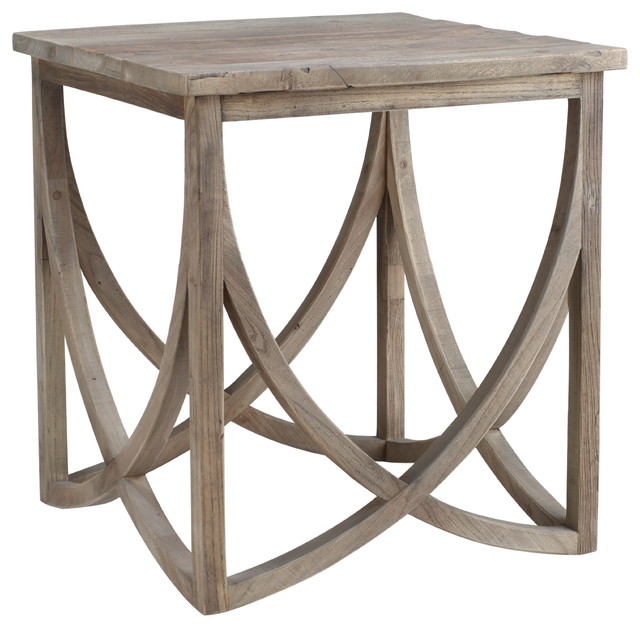 Clifton Reclaimed Wood Side Table With Carved Base