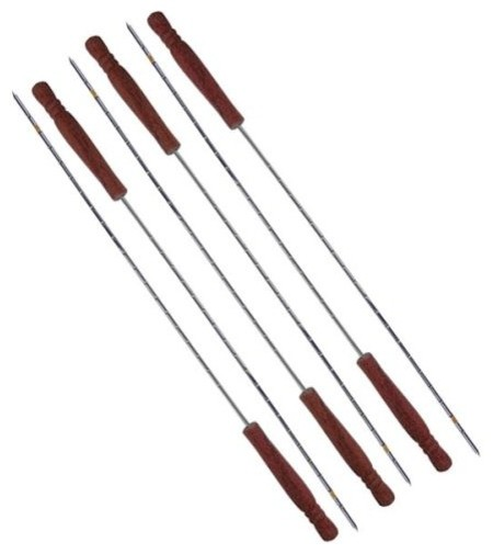 "Wood Handle Skewers, 20"", Set Of 6."