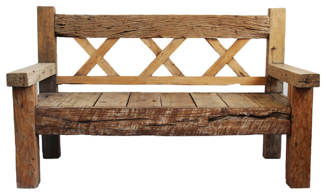 Teak X Bench Rustic Outdoor Benches By Design Mix