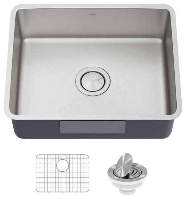 """Kraus Dex 21"""" Undermount Antibacterial Stainless Steel 1-Bowl Kitchen Sink"""