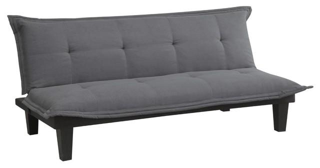 Excellent Charcoal Microfiber Click Clack Futon Sofa Bed Lounger Machost Co Dining Chair Design Ideas Machostcouk