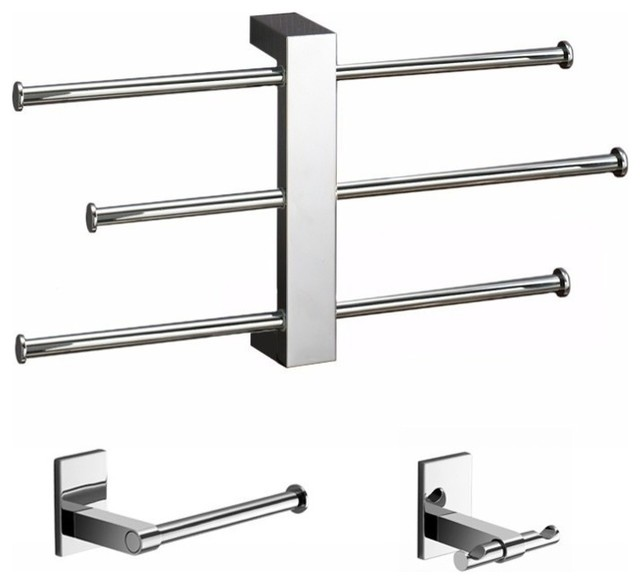 Wall Mounted 3 Piece Set With Adjustable Towel Rack Contemporary Bathroom Accessory Sets By Thebathoutlet