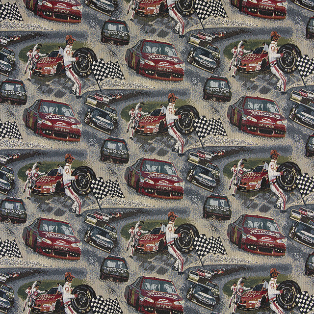 Racing Cars Pit Crew Race Track Themed Tapestry Upholstery Fabric By The Yard