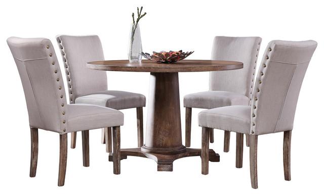 Carey Antique-Style Natural Oak Round Dining Set, 5-Piece Set