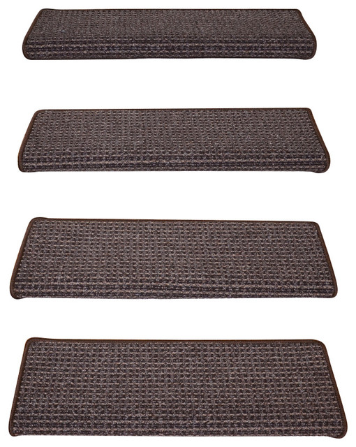 Peel And Stick Non Skid Bullnose Carpet Stair Treads, Cobbler Brown, Set Of