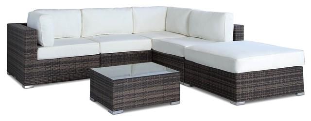 Outdoor Patio Sofa Sectional Wicker Furniture 6 Piece Set