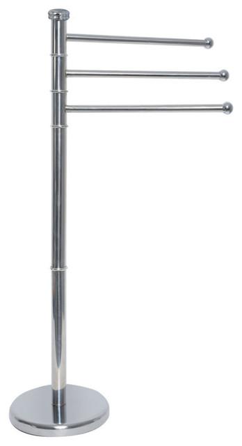 Free Standing Stainless Steel Bathroom Towel Rack Tree 3 Swiveling Arms Chrome