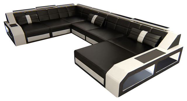 Sectional Leather Sofa Houston XL, Black White, Right Orientation  Modern Sectional