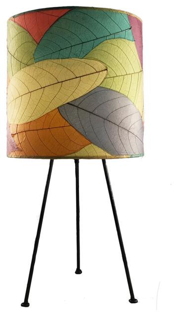 Beau Eangee Home Design Multicolor Cocoa Leaves Metal Tripod Drum Lamp