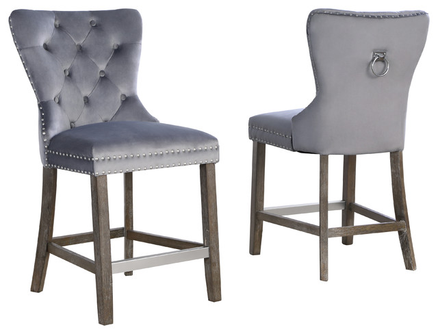 Vienne Tufted Velvet 24 Quot Counter Chairs Set Of 2