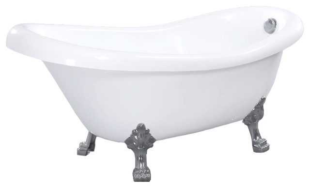 Gibson oval clawfoot slipper acrylic bathtub white 67 for Pros and cons of acrylic bathtubs