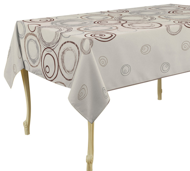 Neutral Circle Tablecloth, 118x58 Contemporary Tablecloths
