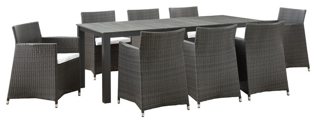 Junction 9 Piece Outdoor Wicker Rattan Dining Set Brown White