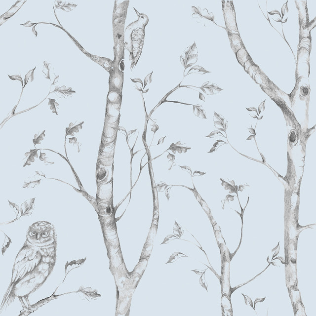 Trees And Birds Peel And Stick Wallpaper, Blue, 4 Rolls. -1